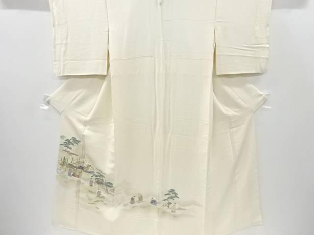 【IDnet】 寿光織平安人物・屋敷風景模様織り出し一つ紋色留袖【リサイクル】【中古】【着】