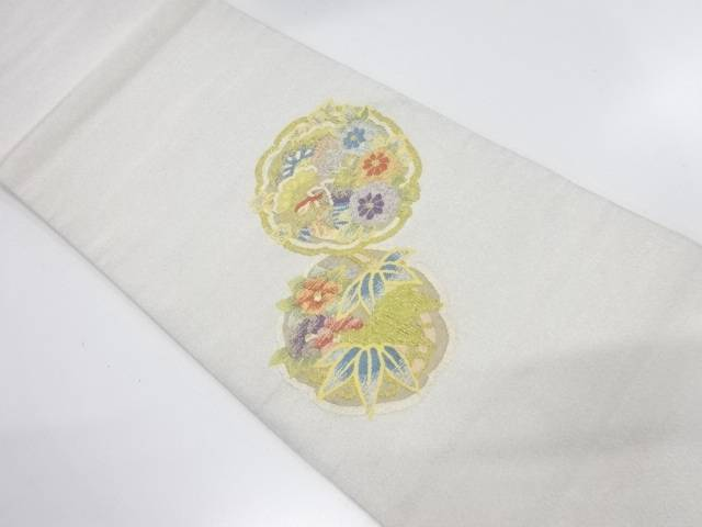 【IDnet】 松笹に花鳥模様織出し袋帯【リサイクル】【中古】【着】