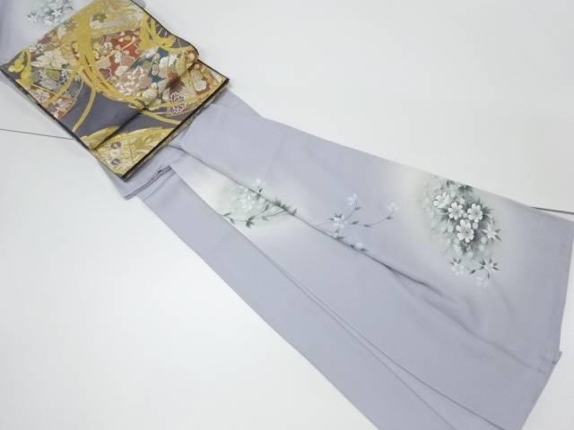 【IDnet】 萬次郎 手描き花模様一つ紋訪問着 袋帯セット【リサイクル】【中古】【着】