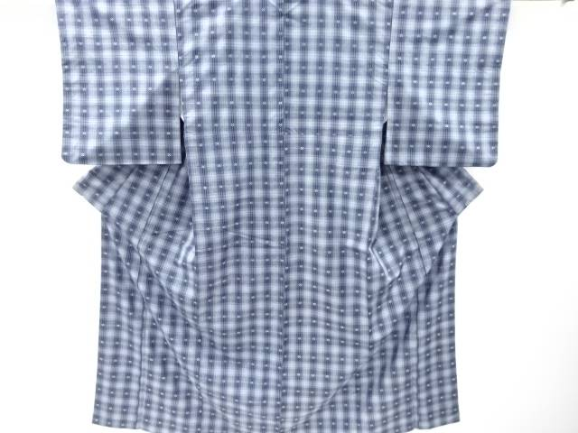 【IDnet】 花織格子に花模様織出手織り紬着物【リサイクル】【中古】【着】