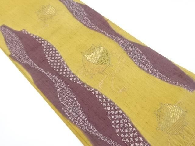 【IDnet】 手織り節紬刺し子糸巻きによろけ縞模様袋帯【リサイクル】【中古】【着】