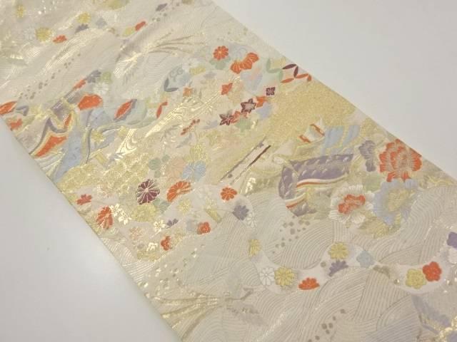 【IDnet】 金糸十二単に花鳥模様織り出し袋帯【リサイクル】【中古】【着】