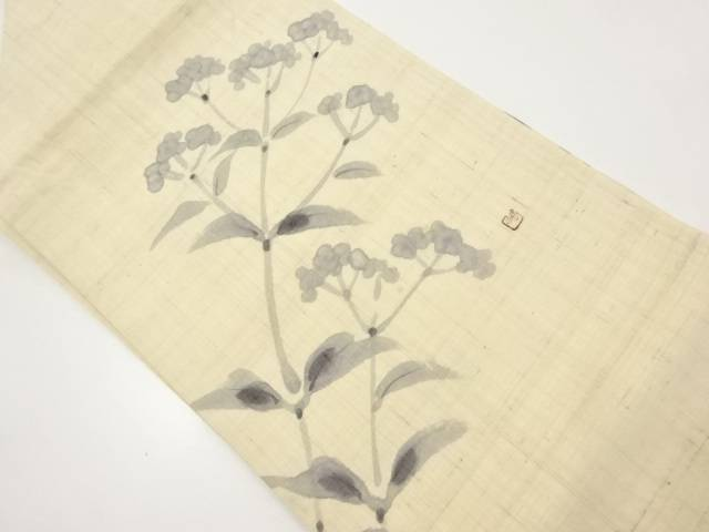 【IDnet】 作家物 生紬手描き菜の花模様名古屋帯【リサイクル】【中古】【着】