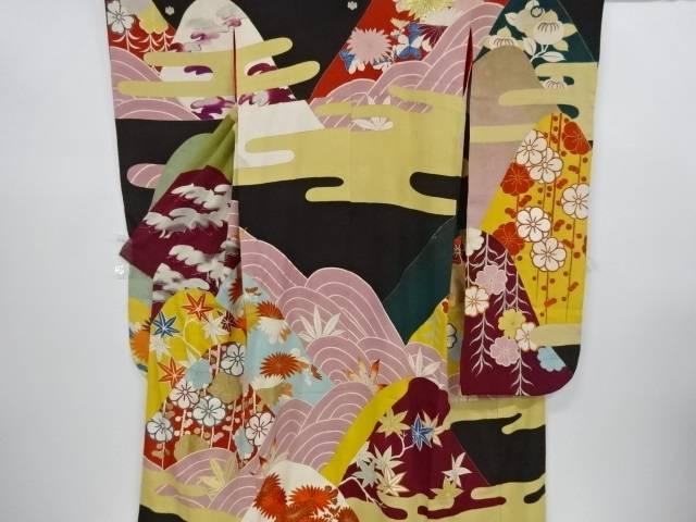 錦紗遠山に梅菊楓模様刺繍五つ紋花嫁衣装振袖 - polygon.technology