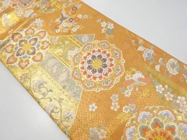 【IDnet】 佐賀錦華紋に花喰い鳥模様織出袋帯【リサイクル】【中古】【着】