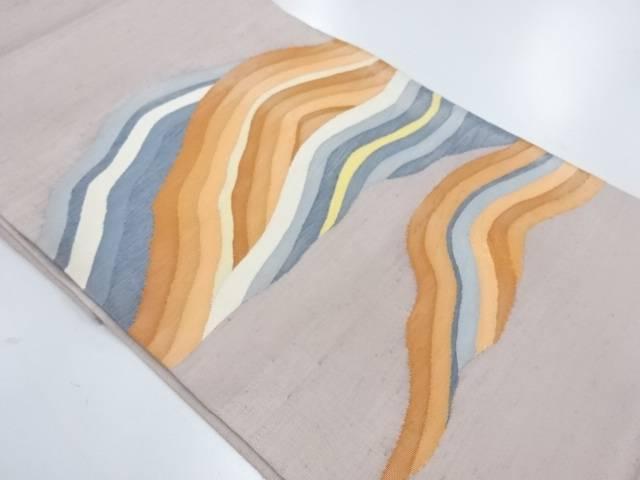 【IDnet】 手織り紬すくい織抽象山並み模様織出し袋帯【リサイクル】【中古】【着】