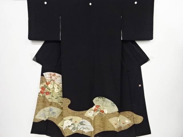 【IDnet】 作家物 金彩友禅地紙に松・梅・菊模様刺繍留袖(比翼付き)【リサイクル】【中古】【着】