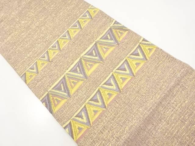 【IDnet】 すくい織金通し横段に鱗模様織り出し袋帯【リサイクル】【中古】【着】