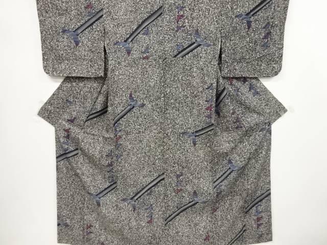 【IDnet】 のり散らしに鳥模様小紋着物【リサイクル】【中古】【着】
