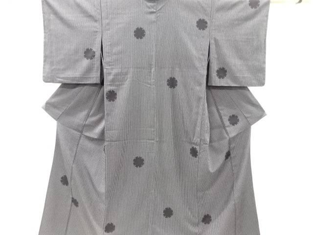【IDnet】 縞に雪輪模様織り出し本塩沢単衣着物【リサイクル】【中古】【着】