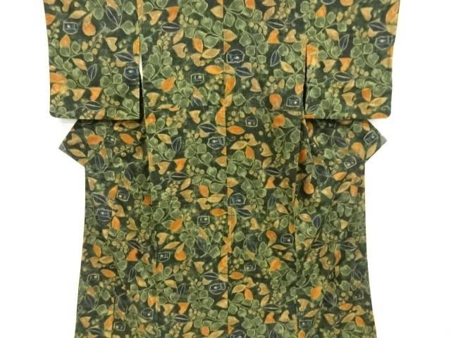 【IDnet】 草花模様手織り真綿紬着物【リサイクル】【中古】【着】
