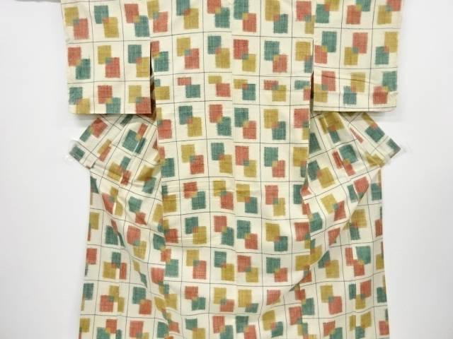 【IDnet】 未使用品 格子に重ね色紙模様織出手織り真綿紬着物【リサイクル】【着】