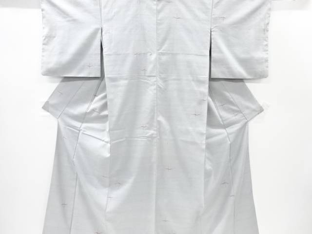 【IDnet】 抽象鳥模様織り出し手織り真綿紬着物【リサイクル】【中古】【着】