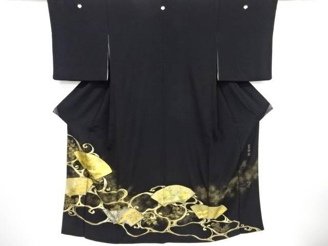 【IDnet】 作家物 寿光織箔置き螺鈿地紙に群鶴・松模様留袖(比翼付き)【リサイクル】【中古】【着】