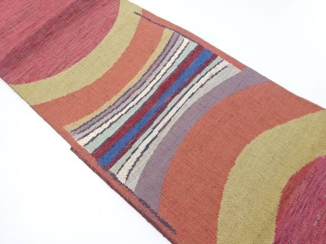【IDnet】 未使用品 手織り紬すくい織変わり横段織り出し袋帯【リサイクル】【着】