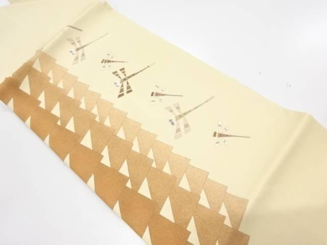 【IDnet】 塩瀬蜻蛉模様刺繍名古屋帯【リサイクル】【中古】【着】