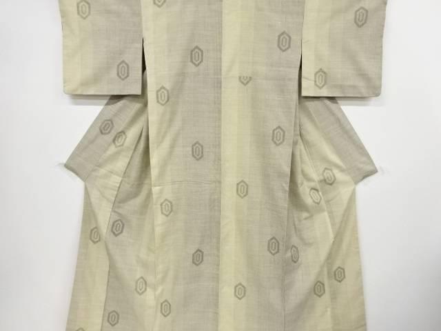 【IDnet】 亀甲模様織出手織り紬着物【リサイクル】【中古】【着】