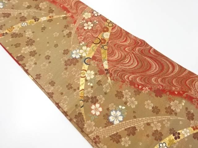 【IDnet】 芝草に桜模様織り出し袋帯【リサイクル】【中古】【着】