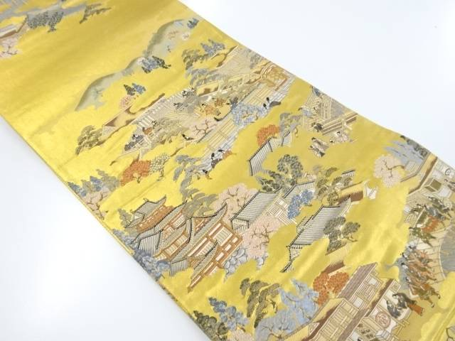 【IDnet】 本金箔舟本洛中洛外図織り出し全通袋帯【リサイクル】【中古】【着】