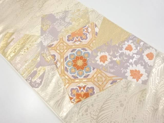 【IDnet】 本金色紙に華紋・蜀江紋・花兎模様織り出し袋帯【リサイクル】【中古】【着】