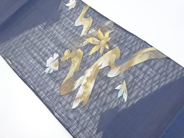 【IDnet】 紗紬すくい織枝花模様織り出し袋帯【リサイクル】【中古】【着】