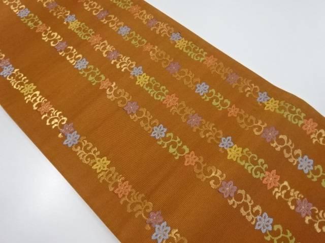 【IDnet】 金糸花縞模様織り出し袋帯【リサイクル】【中古】【着】