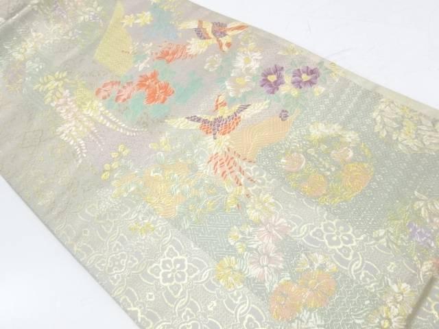 【IDnet】 縞に鳳凰・草花模様織出し袋帯【リサイクル】【中古】【着】