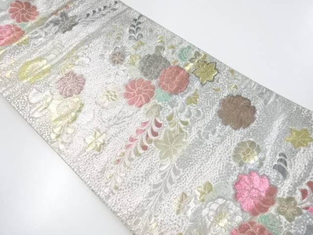 【IDnet】 金銀糸花に楓模様織り出し袋帯【リサイクル】【中古】【着】