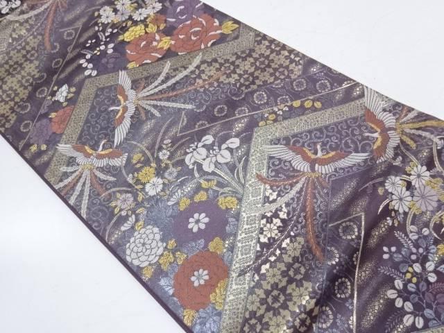 【IDnet】 極楽鳥に草花模様織出し袋帯【リサイクル】【中古】【着】