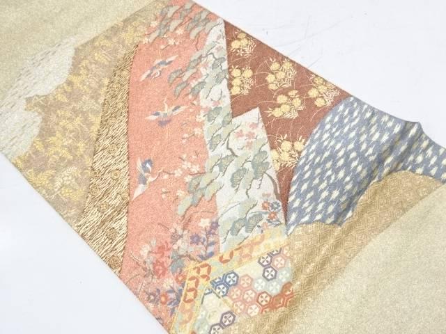 【IDnet】 綴れ鶴に松・草花模様織出し袋帯【リサイクル】【中古】【着】