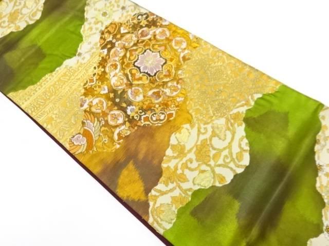 【IDnet】 山並みに草花・華紋模様織出し袋帯【リサイクル】【中古】【着】