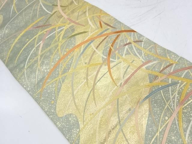 【IDnet】 流水に草葉模様織出し袋帯【リサイクル】【中古】【着】
