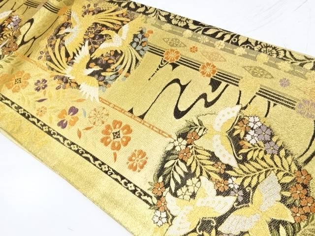 【IDnet】 鳳凰に萩・蝶模様織出し袋帯【リサイクル】【中古】【着】