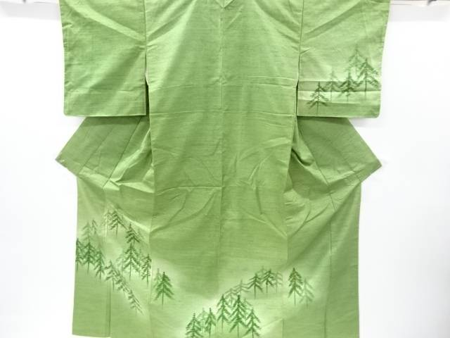 【IDnet】 手描き樹木模様手織り真綿紬訪問着【リサイクル】【中古】【着】
