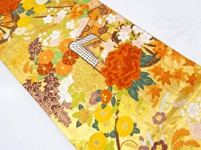 【IDnet】 河合美術織物製 御所車に草花模様織出し袋帯【リサイクル】【中古】【着】