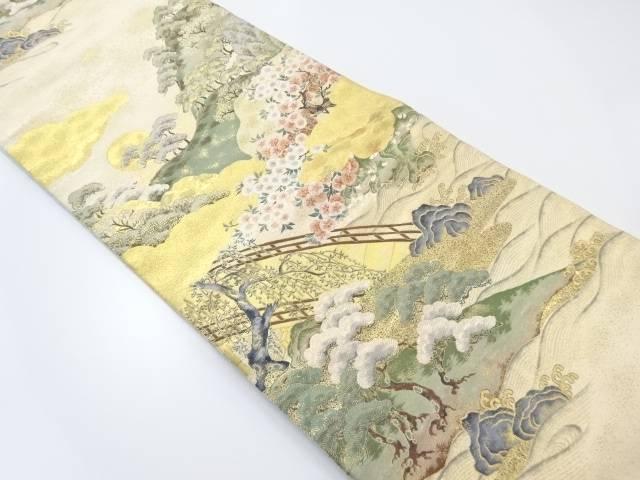 【IDnet】 本金箔橋に桜・笠松模様織り出し袋帯【リサイクル】【中古】【着】