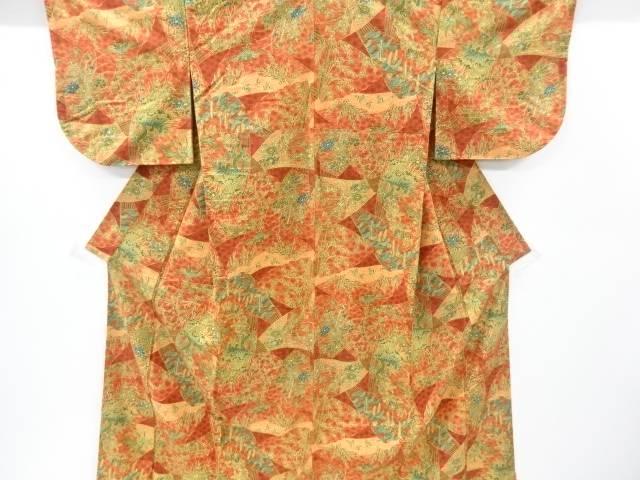 【IDnet】 扇に草花・鳳凰模様手織り節紬着物【リサイクル】【中古】【着】