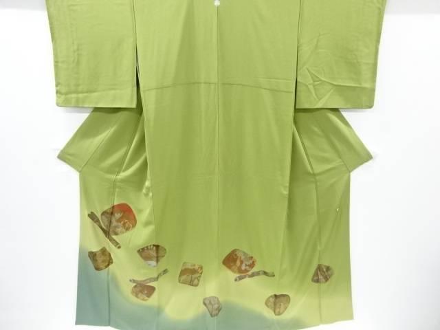 【IDnet】 作家物 箔置横笛に草花動物模様一つ紋色留袖【リサイクル】【着】