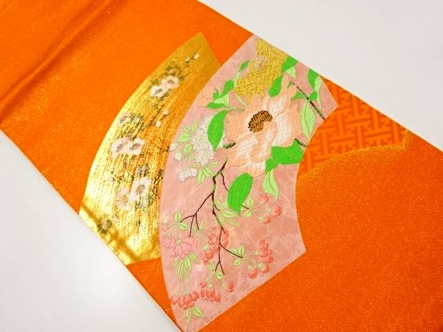 【IDnet】 地紙に枝花模様織り出し袋帯【リサイクル】【中古】【着】