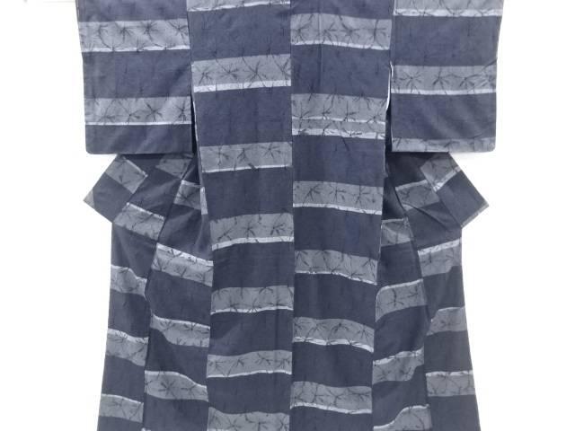 【IDnet】 未使用品 仕立て上がり 草木染本絞り横段織り出し手織り紬着物【着】