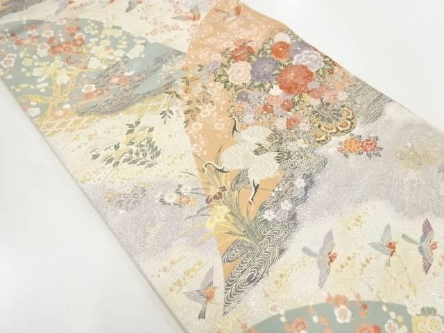 【IDnet】 花車に花鳥模様織出し袋帯【リサイクル】【中古】【着】