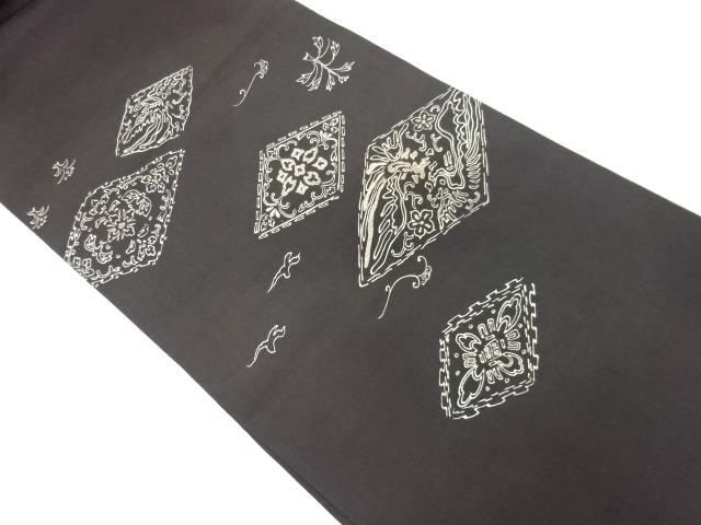 【IDnet】 菱に花鳥模様刺繍丸帯(材料)【アンティーク】【中古】【着】