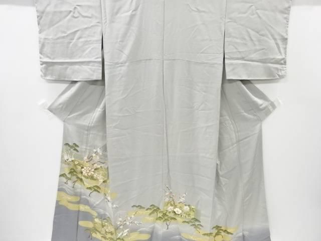 【IDnet】 金彩ヱ霞に松・牡丹・鶴模様刺繍一つ紋色留袖【リサイクル】【中古】【着】