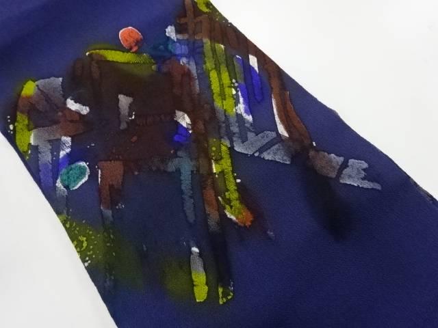 縮緬地抽象模様名古屋帯【リサイクル】【中古】【着】 【IDnet】