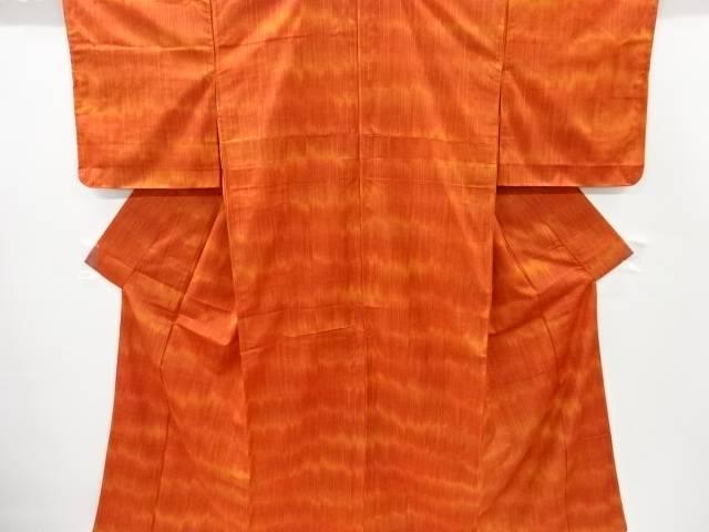 【IDnet】 未使用品 縞に菱模様織り出し手織り節紬着物【リサイクル】【着】
