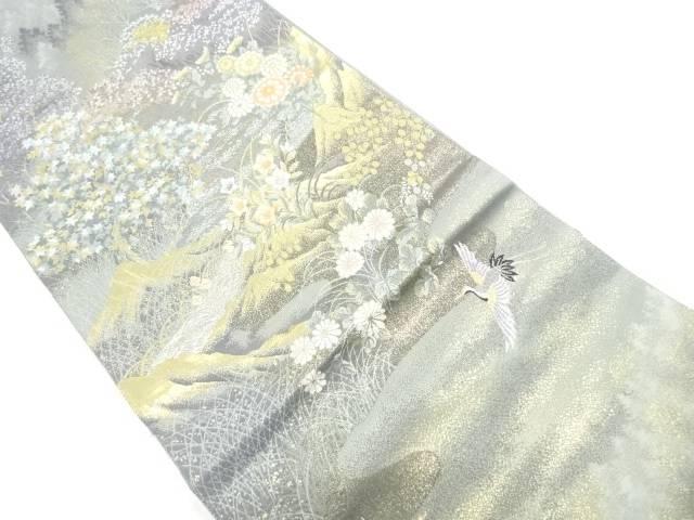 【IDnet】 双鶴に草花風景模様織出し袋帯【リサイクル】【中古】【着】