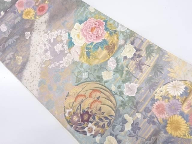 【IDnet】 丸紋に草花模様織出し袋帯【リサイクル】【中古】【着】