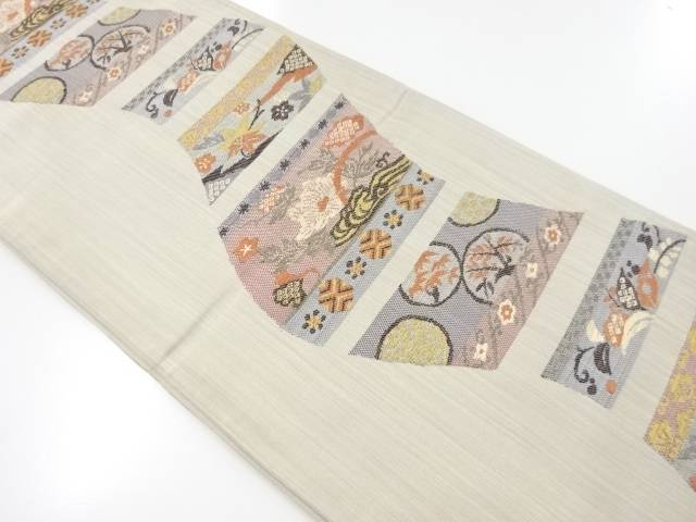 【IDnet】 色紙に牡丹・楓・草花模様織り出し袋帯【リサイクル】【中古】【着】