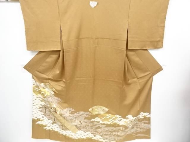 【IDnet】 未使用品 金彩橋に松原・梅・楓・鶴模様刺繍一つ紋色留袖【リサイクル】【着】