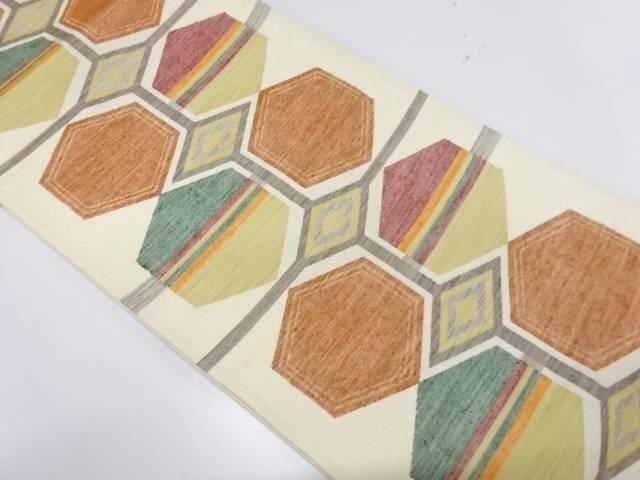 【IDnet】 手織り真綿紬亀甲模様織出し袋帯【リサイクル】【中古】【着】